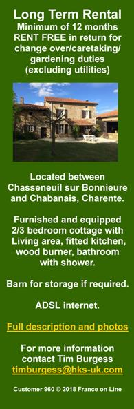 Long term rental,Chasseneuil sur Bonnieure,Chabanais,Charente,furnished,free of charge,barn storage,adsl internet