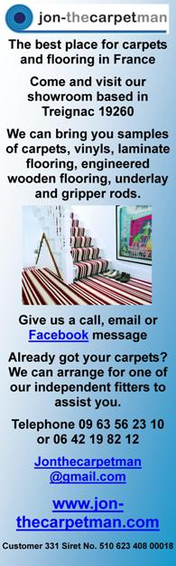 Jon the Carpet Man,Limousin,Dordogne,English carpets,supplier of carpets,flooring supplier,vinyl's,France,laminate flooring,English carpet fitter