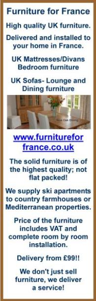 Furniture for France,UK furniture,delivered in France,installed in France,hallways,bedrooms,kitchens,living rooms,sofas,office furniture,dining furniture,solid furniture,ski apartments,country farmhouses,Mediterranean properties