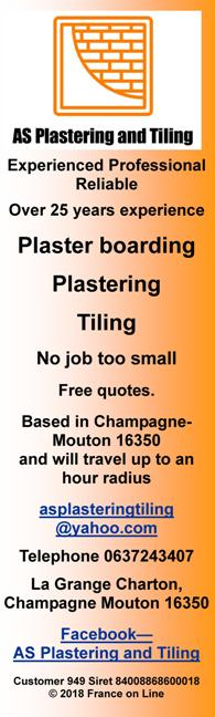 AS Plastering and Tiling,plaster boarding,plastering,tiling,rendering,free quotes,Champagne-Mouton,16350,Charente