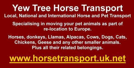 Yew Tree Horse Transport, local, national and international horse and pet transport, relocation to Europe, horses, donkey, llamas, alpacas, cows, goats, sheep, dogs, cats, chickens, geese. DEFRA appproved
