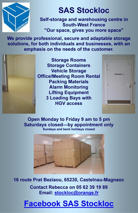 Stockloc,self storage,warehousing,Castelnau-Magnoac,Midi Pyrenees,secure storage,professional storage,personal,business,furniture,stock,logistics,storage containers,storage rooms,loading bays,lifting equipment,fenced,alarmed,packing material,van hire