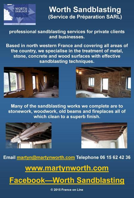 Worth Sandblasting,service de preparation sarl,sandblasting services,north western France,all France,treatment,metal,stone,concrete,wood,woodwork,old beams,fireplaces