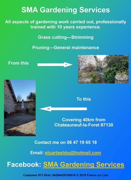 SMA Gardening Servies,Limousin,Chateauneuf la Foret,87130,Haute Vienne,gardening service,grass cutting,mowing,strimming,pruning,general maintenance