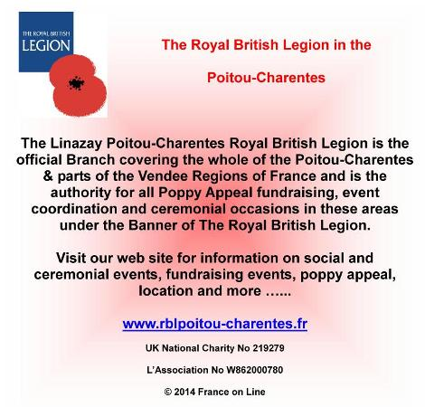 The Royal British Legion,Poitou Charentes,Vendee,Poppy Appeal fundraising in France