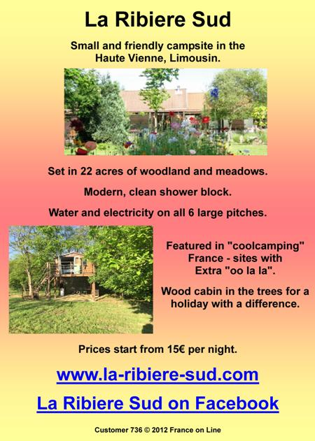 La Ribiere Sud,Haute Vienne,Limousin,small campsite,woodland,meadows,shower block,water,electric,mongolian yurt