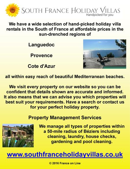 South France holiday villas,holiday villa rentals,south of France,Languedoc,Provence,Cote d'Azur,Mediterranean beaches,property management services,Beziers