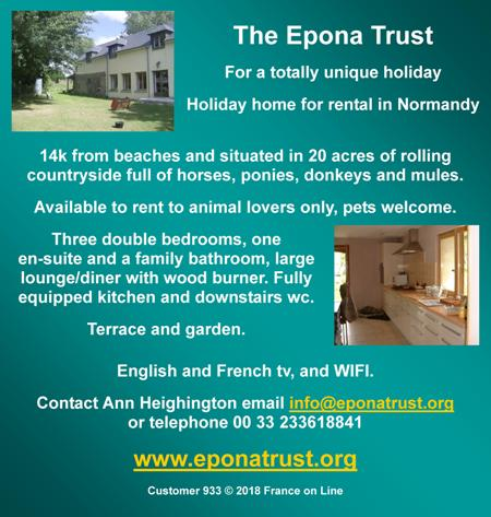 Epona Trust,Normandy,France,holiday home for rent,animal lovers,pets welcome,3 double bedrooms,wifi,english tv,french tv