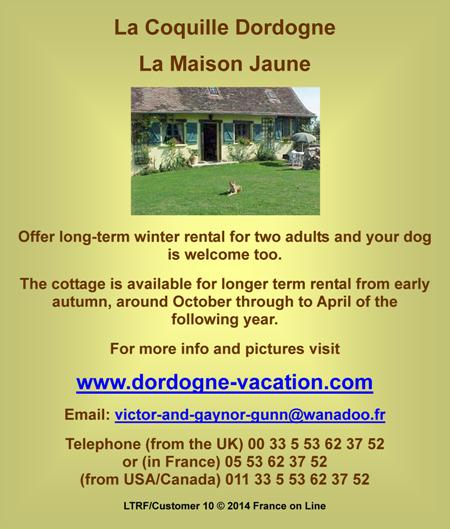 La Coquille,Dordogne,long term winter rental,self catering cottage,dogs welcome
